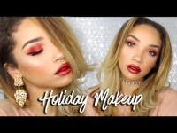 Affordable Holiday Makeup | Red Smokey Eye & Cranberry Lips